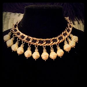 Chico's Gold Black Leather Pearl Necklace